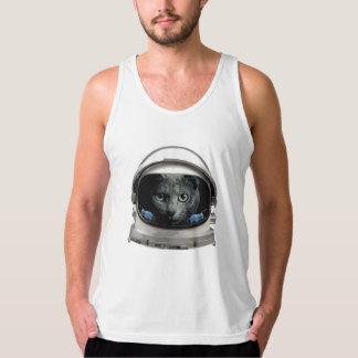 Gato del astronauta del casco de espacio playeras de tirantes