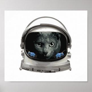 Gato del astronauta del casco de espacio póster
