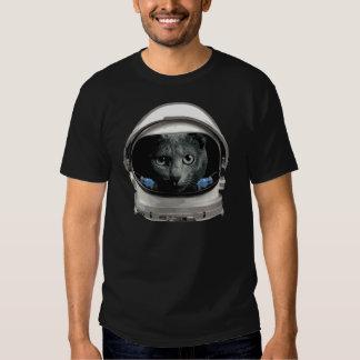 Gato del astronauta del casco de espacio remera