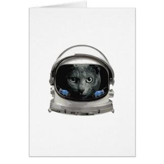 Gato del astronauta del casco de espacio tarjeta de felicitación