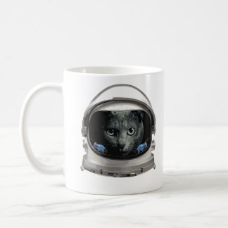 Gato del astronauta del casco de espacio taza de café