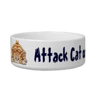 Gato del ataque - plato del mascota tazón para comida gato
