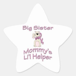 Gato del ayudante de Li'l de la hermana grande Pegatina En Forma De Estrella
