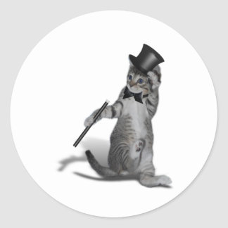 Gato del baile de golpecito pegatina redonda