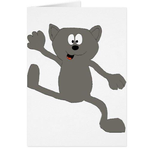 Gato del baile del dibujo animado tarjeta de felicitación