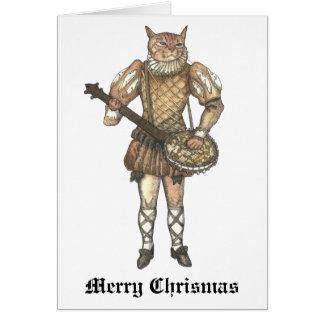 Gato del banjo de las Felices Navidad Tarjeta De Felicitación
