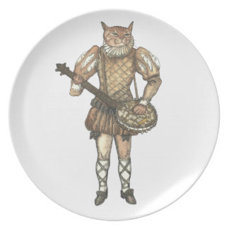 Gato del banjo plato para fiesta