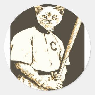 Gato del béisbol pegatina redonda
