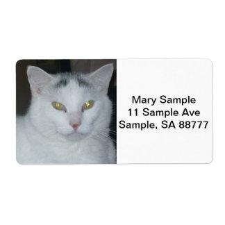 Gato del blanco de los pensamientos del gato etiquetas de envío