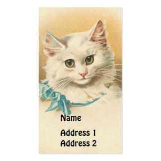 Gato del blanco del vintage tarjetas de visita