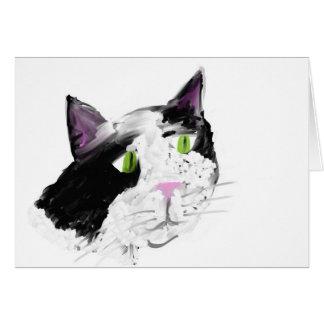 gato del blkandwhite tarjeta de felicitación