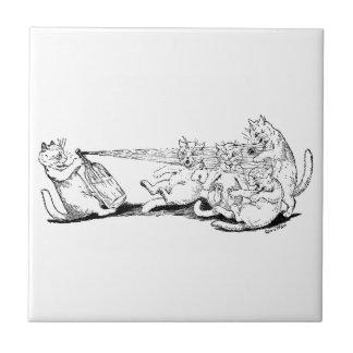 Gato del bromista con el sifón de la soda tejas