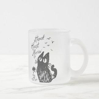 Gato del búho (negro) taza de cristal