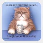 Gato del café calcomania cuadrada personalizada