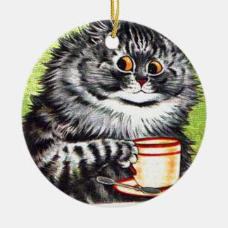 Gato del café (imagen del vintage) adorno navideño redondo de cerámica
