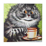 Gato del café (imagen del vintage) azulejos ceramicos