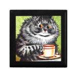 Gato del café (imagen del vintage) caja de regalo