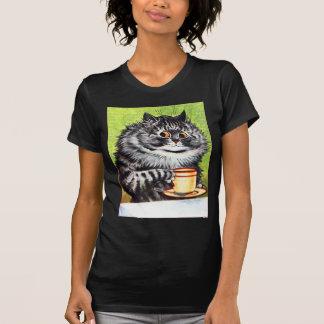 Gato del café imagen del vintage camisetas