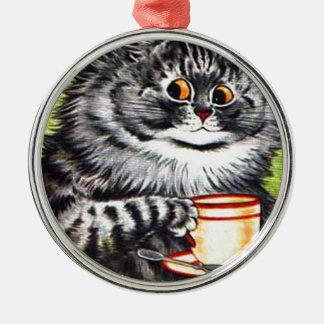 Gato del café (imagen del vintage) ornamentos de navidad