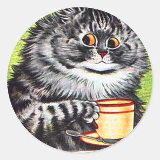 Gato del café (imagen del vintage) pegatina redonda