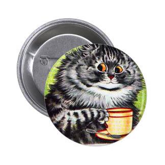 Gato del café (imagen del vintage) pin redondo de 2 pulgadas