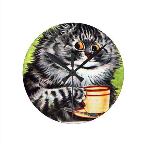Gato del café (imagen del vintage) reloj