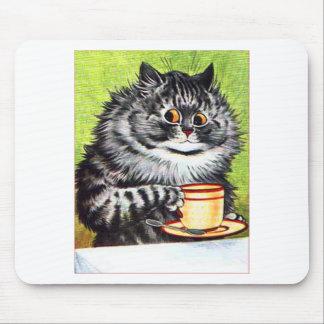 Gato del café (imagen del vintage) tapete de ratones