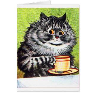 Gato del café (imagen del vintage) tarjeta de felicitación