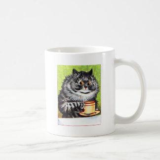 Gato del café (imagen del vintage) taza básica blanca