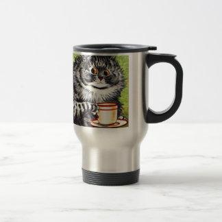 Gato del café (imagen del vintage) taza de viaje