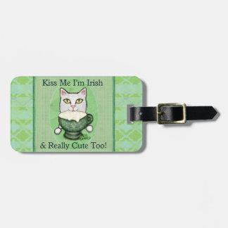 Gato del café irlandés del día de St Patrick Etiqueta De Maleta