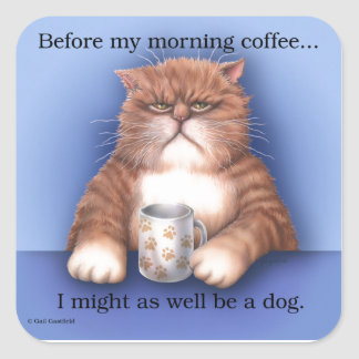 Gato del café pegatina cuadrada