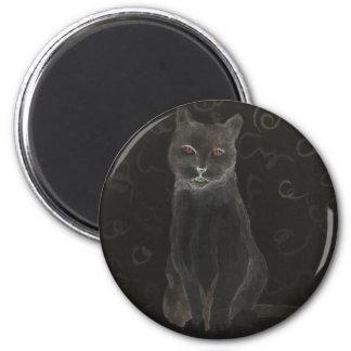 Gato del café - productos del gato del arte de Cri Imán Redondo 5 Cm
