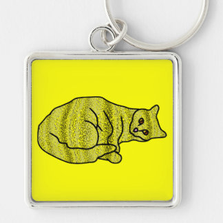 Gato del camaleón llavero cuadrado plateado