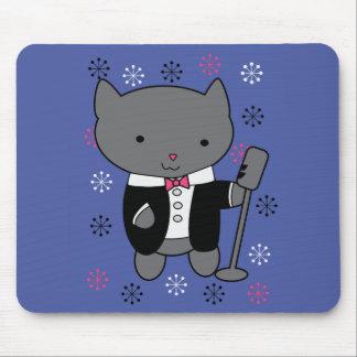 Gato del cantante del jazz alfombrilla de ratón
