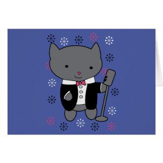 Gato del cantante del jazz tarjeta de felicitación