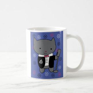 Gato del cantante del jazz taza básica blanca