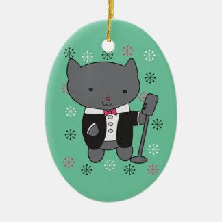 Gato del cantante del salón adornos de navidad