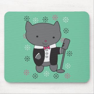 Gato del cantante del salón alfombrilla de ratón