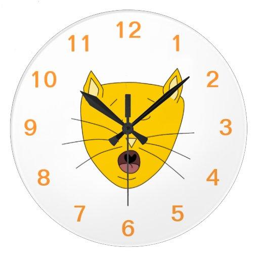 Gato del canto del jengibre reloj