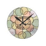 Gato del caramelo del vitral reloj de pared
