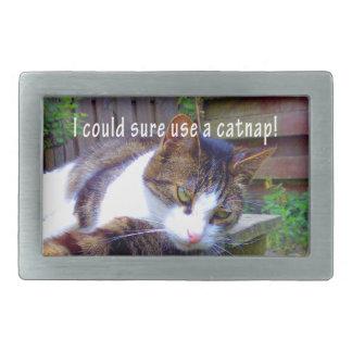Gato del Catnap Hebilla De Cinturón Rectangular