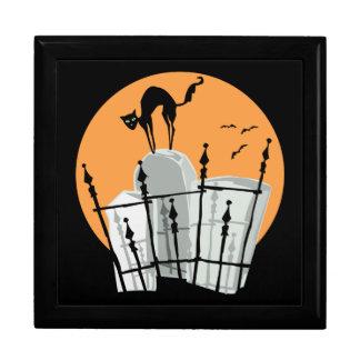 Gato del cementerio de Halloween Caja De Joyas