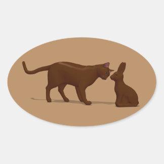 Gato del chocolate pegatina ovalada