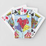 Gato del circo, perro, arte del globo del dibujo a baraja cartas de poker