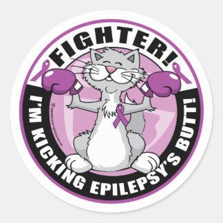 Gato del combatiente de la epilepsia pegatinas redondas
