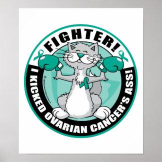 Gato del combatiente del cáncer ovárico póster