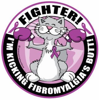 Gato del combatiente del Fibromyalgia Fotoescultura Vertical