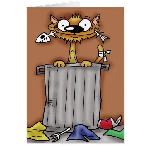 Gato del cubo de basura tarjeta de felicitación
