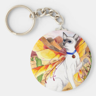 Gato del desierto llavero redondo tipo pin
